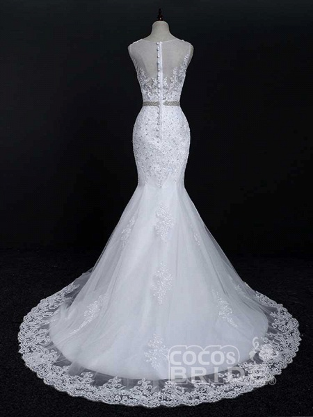 Lace Sashes Mermaid Wedding Dresses_3