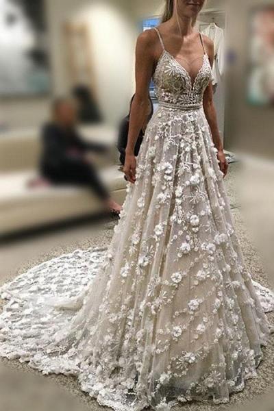 Stunning Deep V Neck Spaghetti Straps Lace Backless Court Train Wedding Dress_1