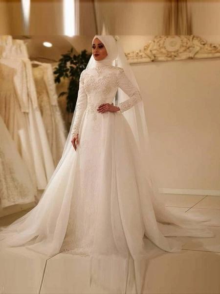 Modest Long Sleeves High Neck A-line Wedding Dresses_1