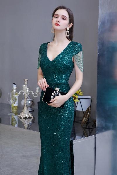 Elegant Cap Sleeve Green Sequins Long Prom Dress_6