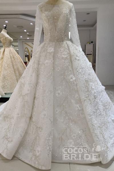 Luxury Beaded Long Sleeve Lace Ball Gown Wedding Dress_4