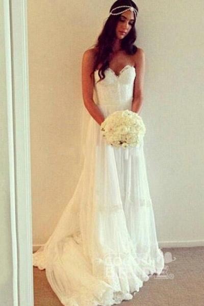Chic Boho Beach Sweetheart Lace A Line Wedding Dress_3