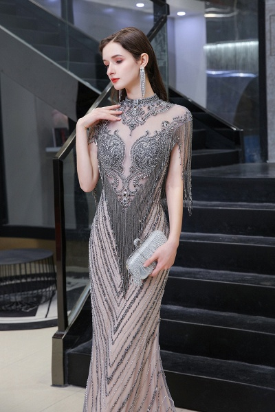 High Neck Cap sleeves Sparkle Beads Long Prom Dresses_3