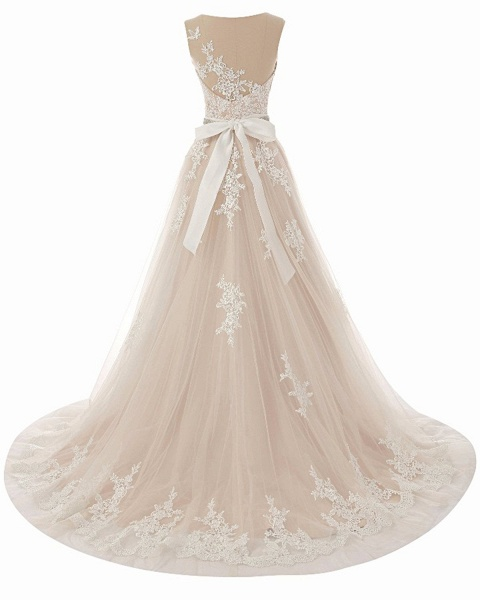 Creamy Tulle Round Neck White Lace Applique Long Wedding Dress_3