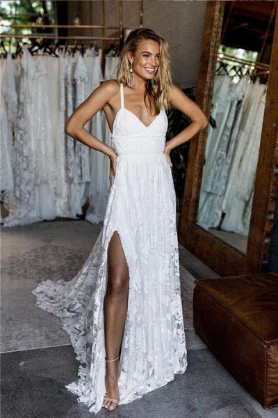 A Line Floor Length Split Beach Lace Wedding Dress_1
