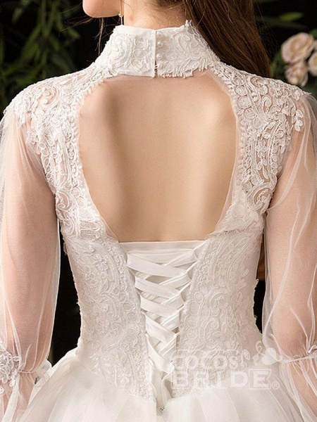 Gorgeous High Collar 3/4 Sleeve Lace-Up Ball Gown Wedding Dresses_6