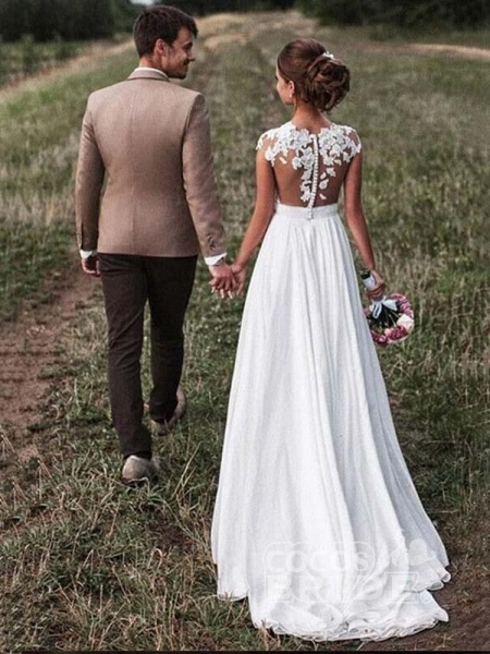 Affordable Cap Sleeves Lace Covered Button Wedding Dresses_2