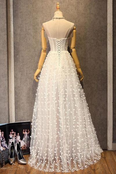 Sweetheart Long Spaghetti Straps Wedding Dress_4