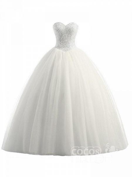 Glamorous Sweetheart Beaded Ball Gown Tulle Wedding Dresses_3
