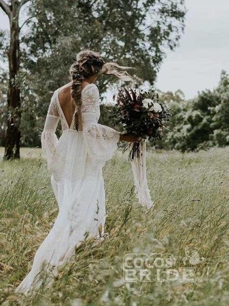 Elegant Long Sleeves V-Neck Tulle Wedding Dresses_6