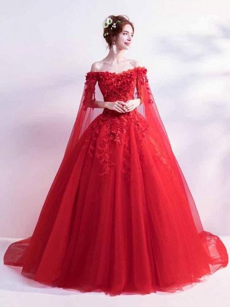 Off-the-Shoulder Lace Applique Wedding Dresses_1