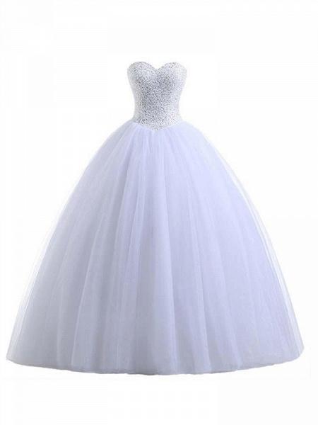 Glamorous Sweetheart Beaded Ball Gown Tulle Wedding Dresses_1