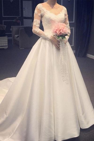 Elegant A Line V-Neck Appliques Long Sleeves Wedding Dress_1