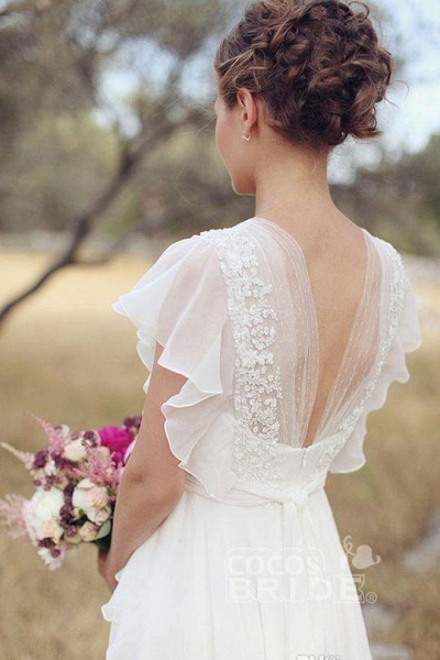 Ivory V Neck Chiffon Boho Unique Cap Sleeves Beach Wedding Dress_2