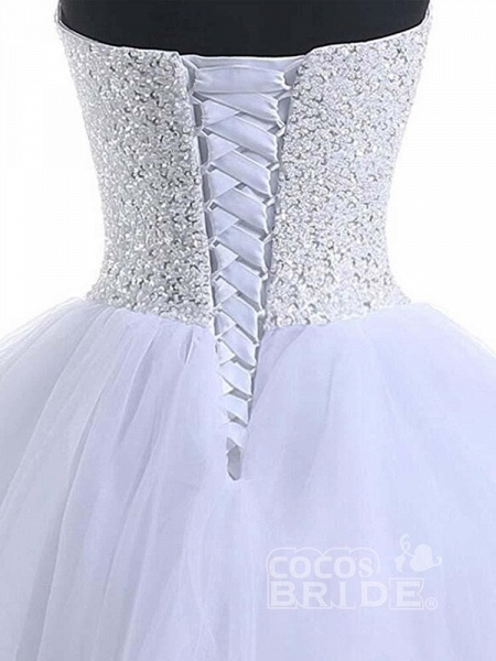 Glamorous Sweetheart Beaded Ball Gown Tulle Wedding Dresses_4