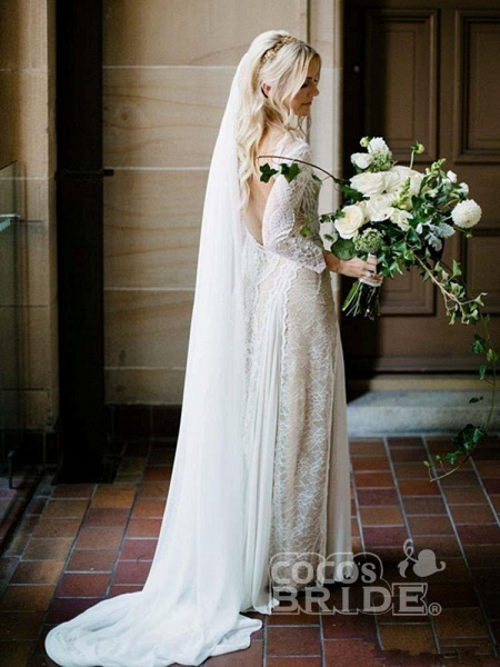 Long Sleeves Backless Floor Length Lace Wedding Dresses_2
