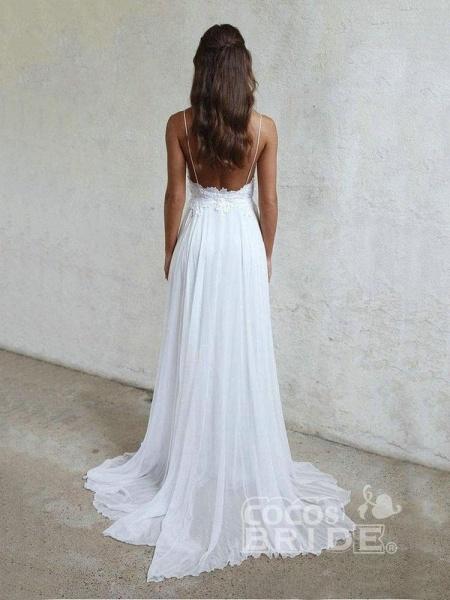 Elegant Spaghetti-Strap Appliques Chiffon Wedding Dresses_2