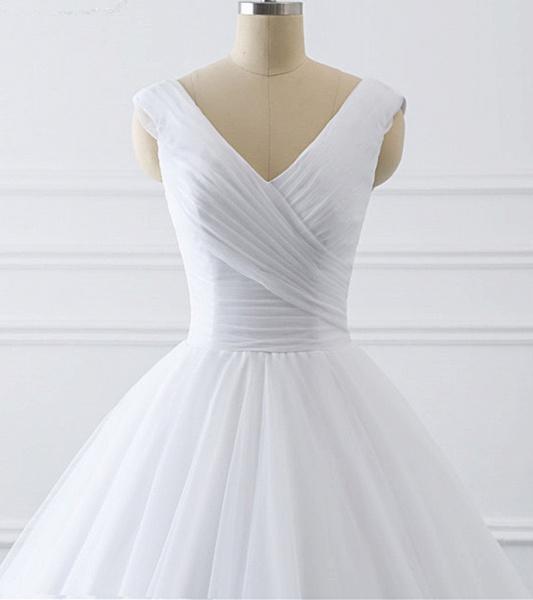 Unique White Lace V Neck Puffy Sweep Train Wedding Dress_3