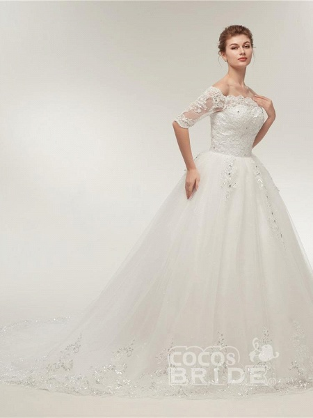 Off-the-Shoulder Half Sleeves Lace Ball Gown Wedding Dresses_3