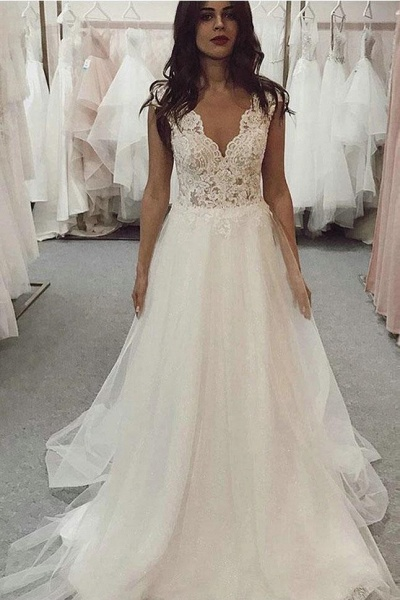 A Line V Neck Tulle Beach with Ivory Lace Top Long Wedding Dress_1