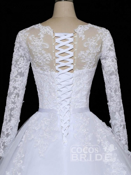Glamorous Long Sleeves Lace Applique Tulle Wedding Dresses_6