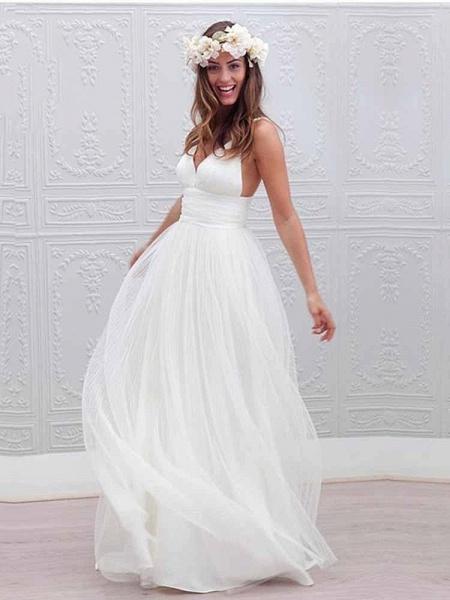 Elegant Spaghetti Straps V-Neck Tulle Wedding Dresses_1