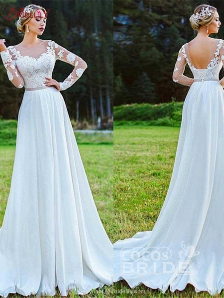 Modest Bateau Long Sleeves Lace Ruffles Wedding Dresses_4