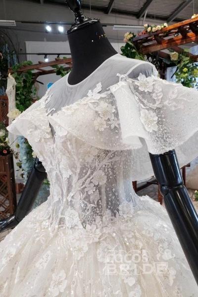 Gorgeous Ball Gown Big Princess Sleeves Wedding Dress_6