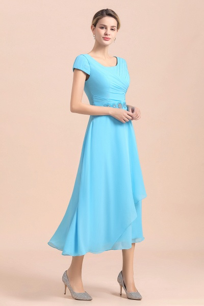 Blue Short Sleeves Chiffon Ruffles Tea-length Mother of the Bride Dress_9