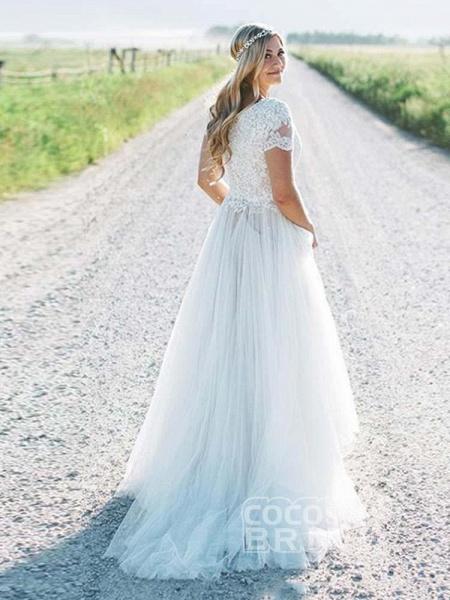 Elegant Short Sleeves Lace Tulle Wedding Dresses_2