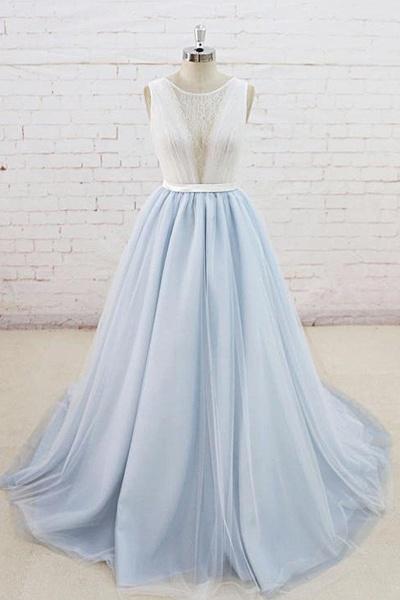 Light Blue Tulle Sheer Back Summer Lace Wedding Dress_1
