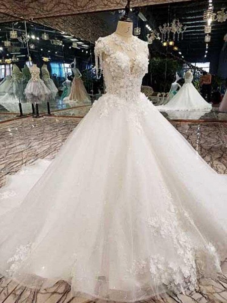 Awesome Appliques Tulle Ball Gown Wedding Dresses_1