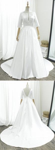 White Satin V Neck Sweep Train Pearl Wedding Dress_4