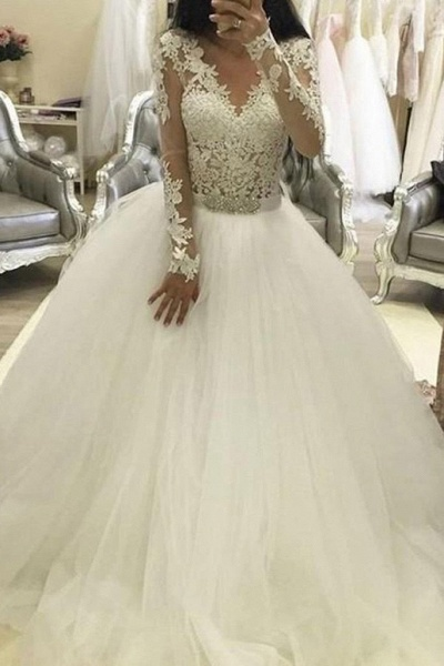 Ball Gown Sleeves V Neck Tulle Princess Long Wedding Dress_1