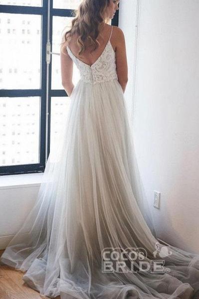 Spaghetti Strap Beach V Neck Tulle Long Wedding Dress_2