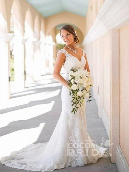 Elegant Cap Sleeves Lace Sweep Train Mermaid Wedding Dresses_3