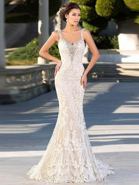 Glorious Open Back Lace Mermaid Wedding Dresses_1
