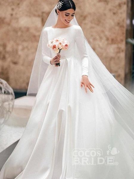 Simple Jewel Long Sleeve A-line Wedding Dresses_3