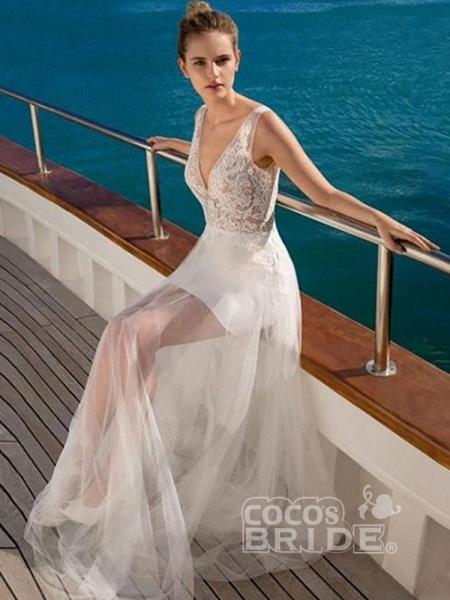 V Neck Sleeveless Backless Boho Wedding Dresses_4