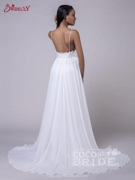 Modest Spaghetti-Strap A-Line Ruffles Wedding Dresses_6