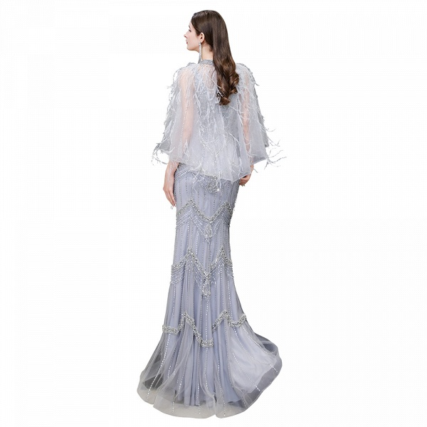 Gorgeous Silver Feather Cape Mermaid Sparkle Prom Dresses_18
