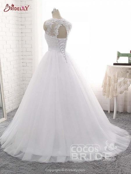 Elegant V-Neck Ball Gown Tulle Wedding Dresses_3