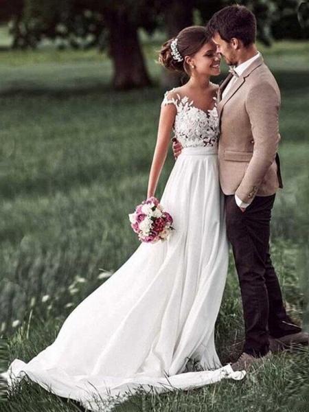 Vintage Cap Sleeves Lace Ruffles A-Line Wedding Dresses_1