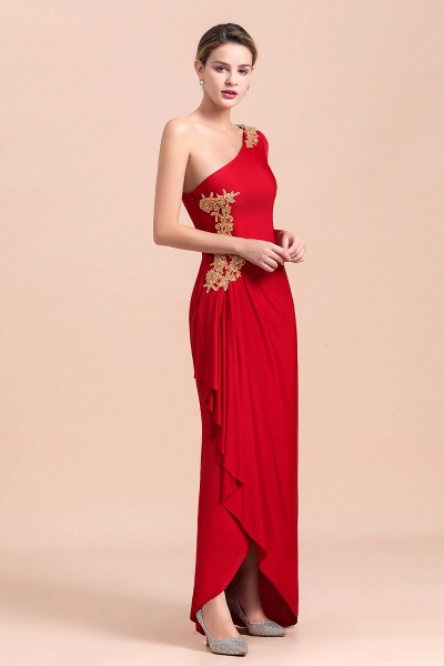 One-Shoulder Gold Appliques Long Sleeves Ruffles Mother of Bride Dress_6