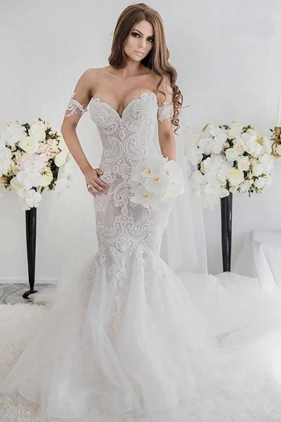 Charming Mermaid Style Off-the-Shoulder Sweep Train Lace Wedding Dress_1