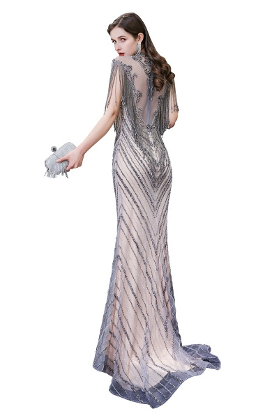 High Neck Cap sleeves Sparkle Beads Long Prom Dresses_14