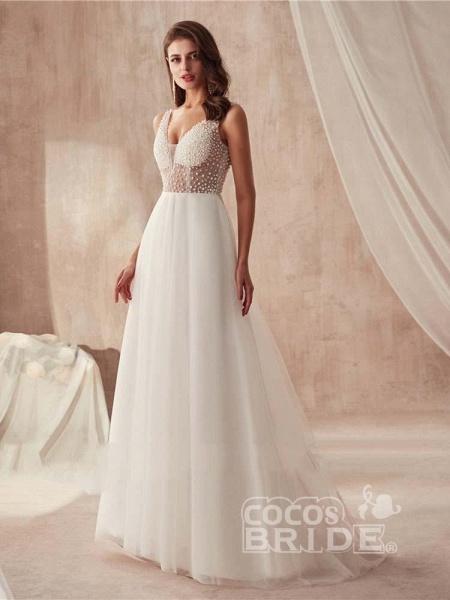Popular Dress V-neck Beading Tulle Ruffles Wedding Dresses_2