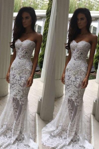 Mermaid Sweetheart Long Lace Strapless Sweep Train Wedding Dress_1