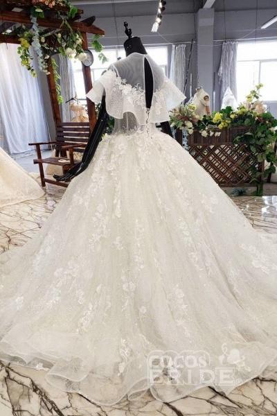 Gorgeous Ball Gown Big Princess Sleeves Wedding Dress_4