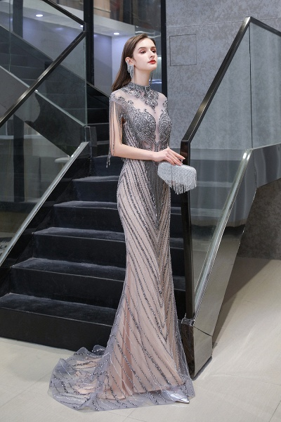High Neck Cap sleeves Sparkle Beads Long Prom Dresses_4